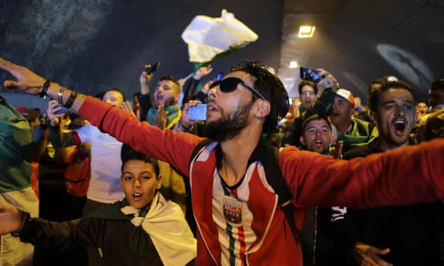 Algerians on a political demonstration in the street.