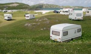 Caravans on Reef beach, Uig Lewis, The Hebrides, United Kingdom.