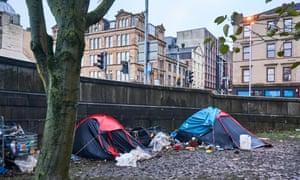 Homeless people sleeping in tents in Glasgow