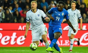 Moise Kean scores Italy's second goal against Finland.