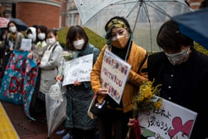 Japan Women gather outside the justice ministry in Tokyo