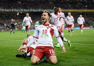 Christian Eriksen celebrates after scoring for Denmark in the play-off against Republic of Ireland which sealed a World Cup berth.