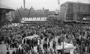 A queue for the Dome Of Discovery on London's south bank during the 1951 Festival of Britain.
