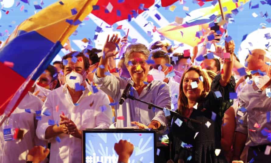 Guillermo Lasso celebrates at his campaign headquarters in Guayaquil, Ecuador.