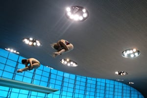 Athletes practice for the Diving World Series