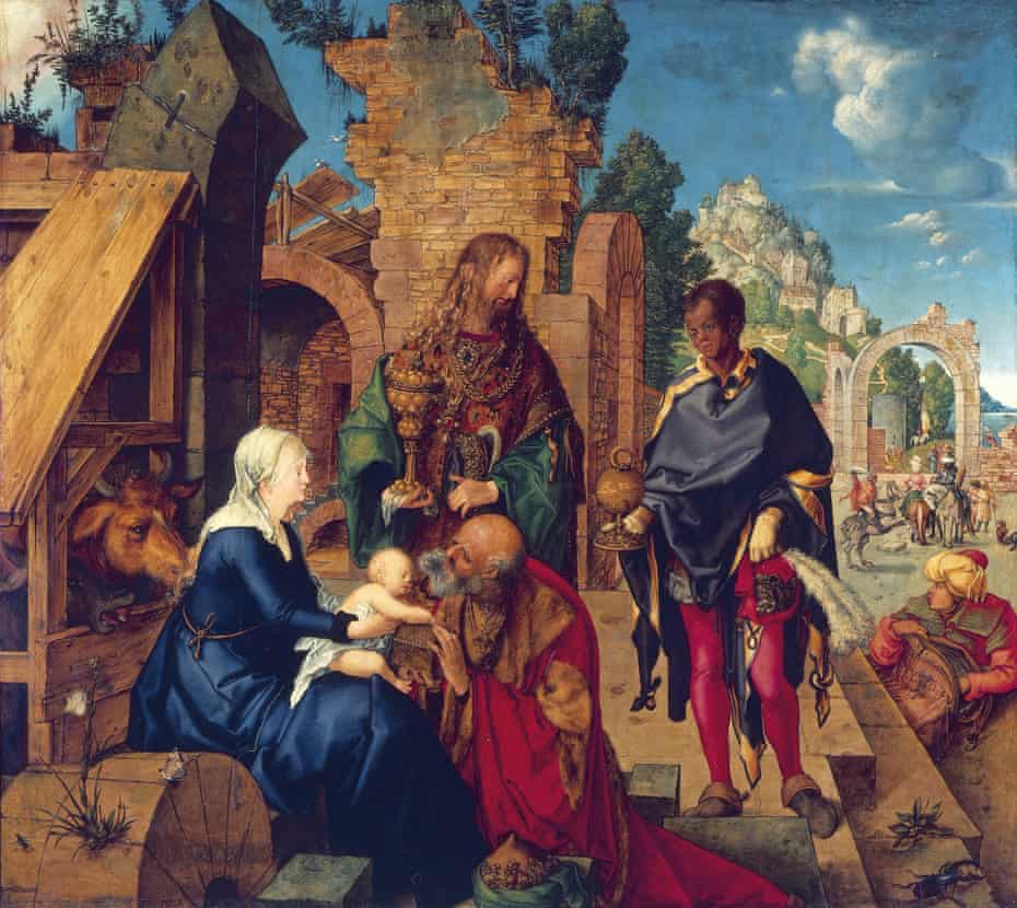 A monarch in red leggings … The Adoration of the Magi, 1504, by Albrecht Dürer.