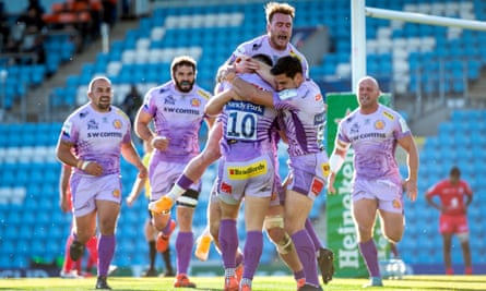 Exeter celebrate beating Toulouse to reach the Champions Cup final