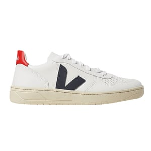 White, navy and red trainers. £115, by Veja