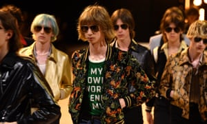 Models on the runway during the Celine menswear show in Paris.