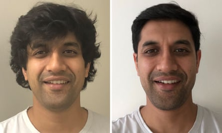Anuj before and after haircuts.