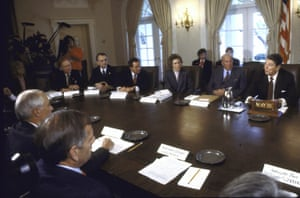 A US ambassadors meeting with Ronald Reagan about the 'war on drugs'.
