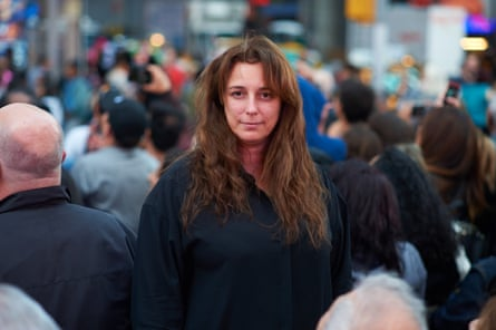 Tania Bruguera in Times Square, New York City.