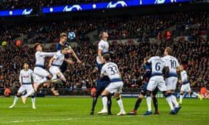 Luuk de Jong connects with a header from a PSV corner in the second minute at Wembley.