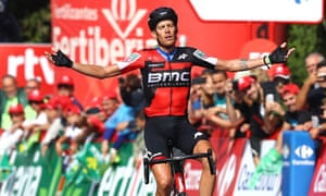 Italy's Alessandro De Marchi celebrates victory on stage 11 of La Vuelta, a 207.8km route from Mombuey to Luintra