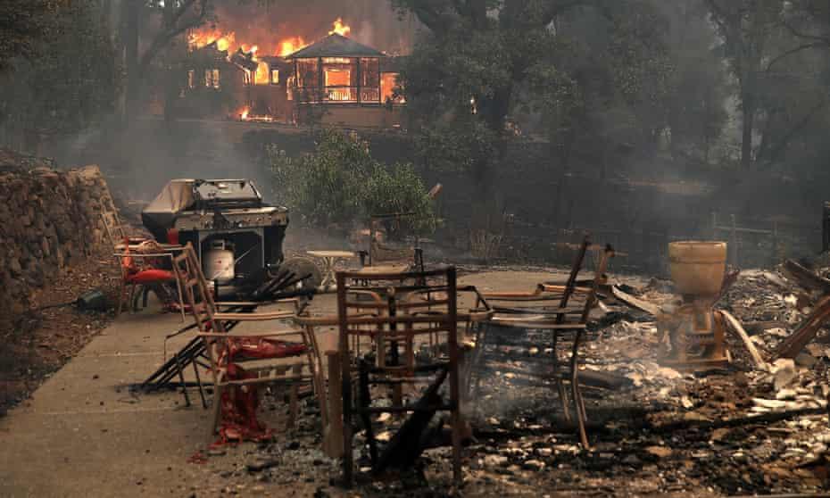 Fire damage in Glen Ellen, California.