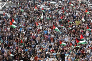 A large demonstration in the northern Arab-Israeli town of Sakhnin.