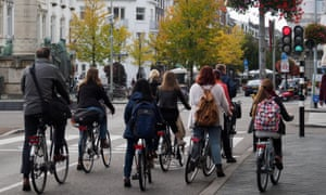cyclists in Maastricht, the Netherlands.