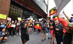 Protesters are seen outside the Channel 7 after Sunrise aired an offensive segment on Indigenous child abuse.