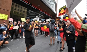 Protesters outside Channel Seven's studios in Martin Place