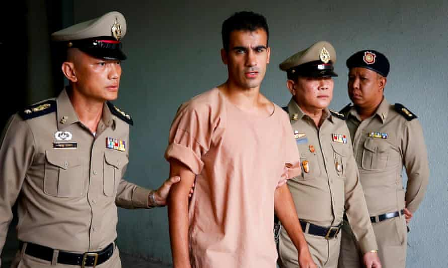 Bahrain refugee soccer player Hakeem Al-Araibi arrives at the criminal court in Bangkok, Thailand, on 4 February 2019