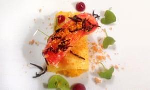 King crab, dashimaki tamago, egg rice, kabosu, blood plum, hijiki and wild wood sorrel, as served at Sepia in Sydney.
