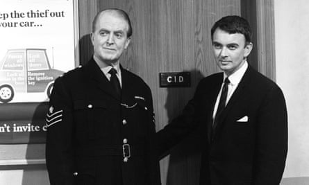 Peter Byrne, right, as Andy Crawford, with Jack Warner as George Dixon in Dixon of Dock Green, 1968.