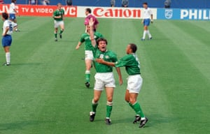 Ray Houghton reacts with delight after scoring against Italy at USA 94.