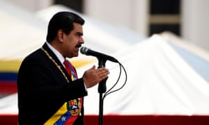 Venezuela's president, Nicolás Maduro, delivers a speech during the swearing in at the Supreme Court in Caracas on Thursday.