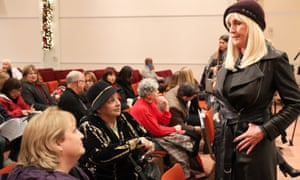 Erin Brockovich talks with impacted residents Judy Resnick, 70, and daughter Hope Tropper, 49, at a meeting with residents of Porter Ranch affected by the methane leak.