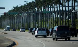 Donald Trump motorcade arrives at Trump International Golf Club in West Palm Beach, Florida, on 22 November.