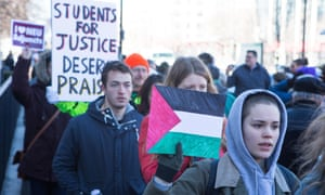 Pro-Palestinian students march in Boston in 2014.
