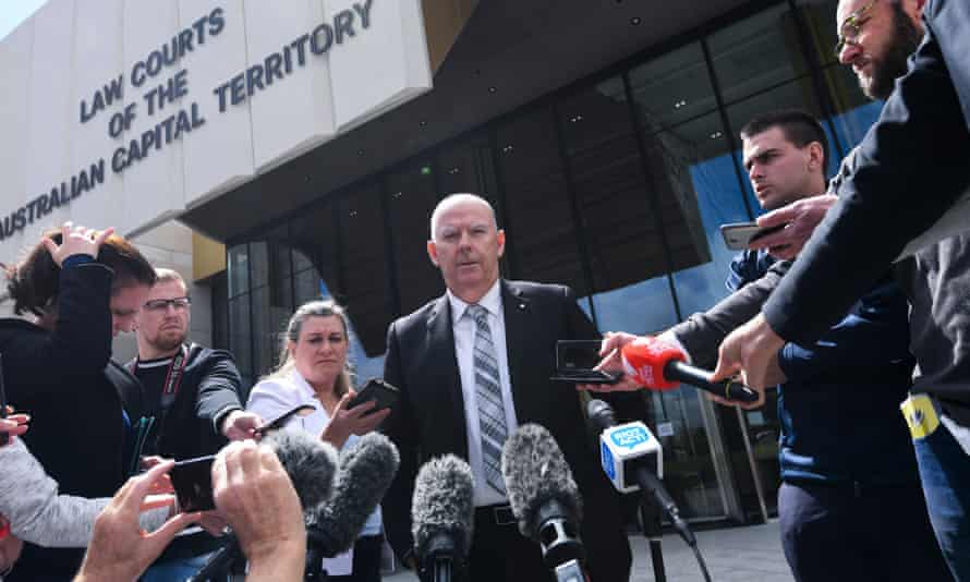 John Hinchey, spokesman for the Winchester family, outside the supreme court in Canberra