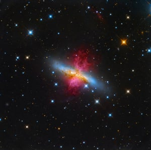M82: Starburst Galaxy with a Superwind Leonardo Orazi (Italy) About 12 million light years away from our planet, lies the starburst galaxy M82, also known as the Cigar Galaxy. In a show of radiant red, the superwind bursts out from the galaxy, believed to be the closest place to our planet in which the conditions are similar to that of the early universe, where a plethora of stars are forming.