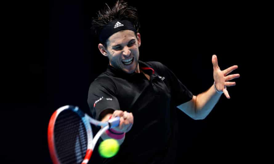 Dominic Thiem in action against Daniil Medvedev during the final of the ATP Finals