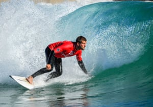 A surf session after a day's training at the Wave surfing reef near Bristol
