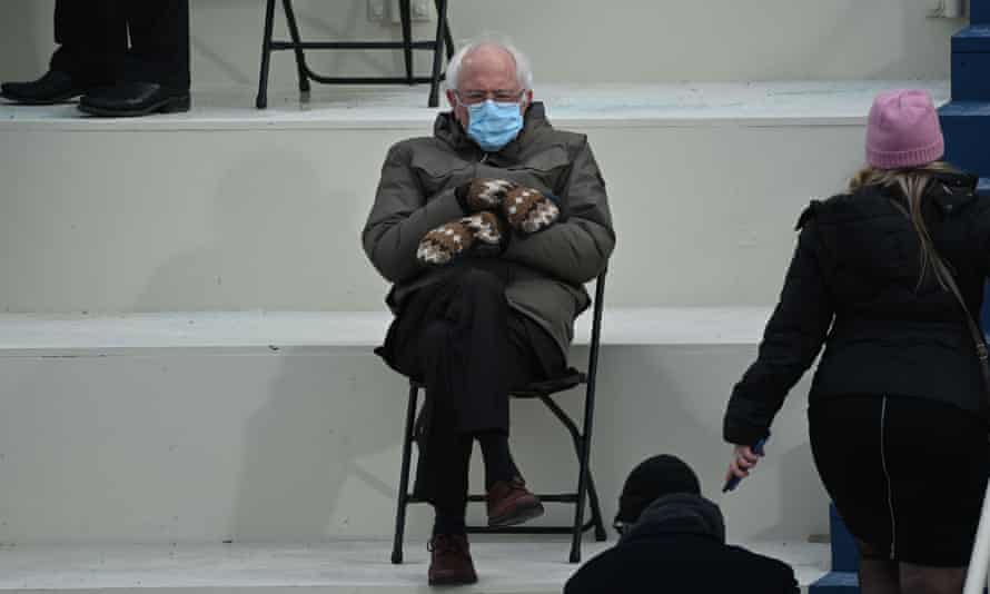 Bernie Sanders at the inauguration, in the pose that started it all.