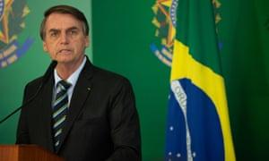 Jair Bolsonaro in Brasília last month. Bolsonaro said Brazilian culture had been 'destroyed by decades of government with a socialist slant'.