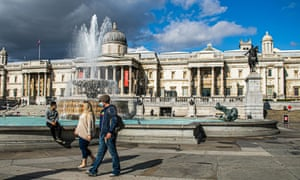 An almost deserted Trafalgar Square in London, which would normally be full of visitors at this time of the year.