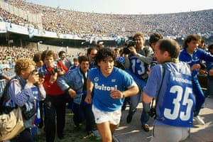 Maradona during his playing days for Napoli, in a scene from the new documentary