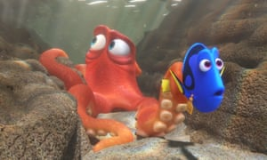 Hank the octopus, voiced by Ed O'Neill, left, and Dory, voiced by Ellen DeGeneres, in Finding Dory.