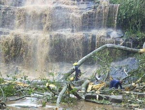 Rescuers search for tourists trapped under the fallen tree at a waterfall at Kintampo in Brong Ahafo region.