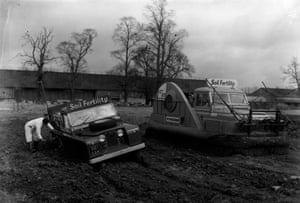 A Land Rover is equipped with a hovercraft conversion kit which partly supports the vehicle over rough territory while its wheels still provide traction. This model, from 1962, was meant to be used for crop spraying