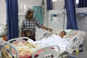 Hussein, 5, just woke up in Al-Thawra hospital in Sana'a after four days in a coma. He was injured in a missile strike on his home in Dhamar city. <br><br>'He was on the balcony of the house. The blast threw him in the air. He fell down on his head, and we brought him to the hospital here. He has been in a coma until today. He just woke up this morning,' said his father. In the past three months, some 3,000 Yemenis have been killed, half of them civilians, and around 14,000 injured