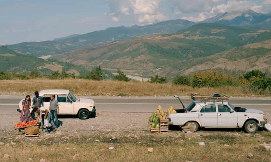 A Georgian trader sells vegetables by the roadside