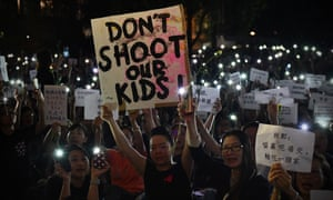 Protesters at a rally in Hong Kong On Friday.