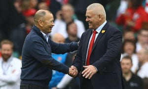 Eddie Jones shakes hands with Warren Gatland before England's match against Wales earlier in the tournament.