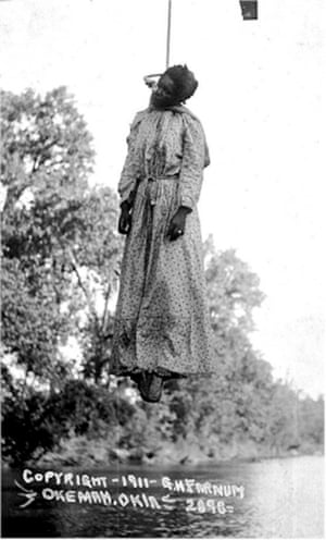 Lynching of Laura Nelson, May 1911, Okemah, Oklahoma, presented as a photo postcard. Stamp on reverse reads 'unmailable.'