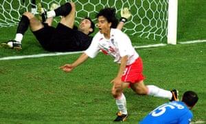 Ahn Jung-hwan celebrates scoring a famous goal past Gigi Buffon.