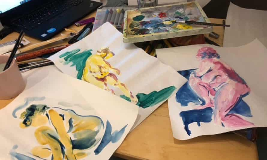 Paintings done by Brixton Life Drawing online students