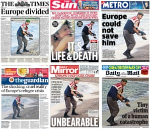 The front pages of six British newspapers, which feature the shocking image of a drowned Syrian boy washed up on a beach in Turkey.